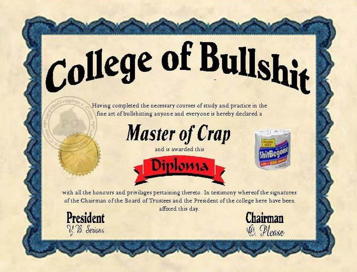 bullshit degree - College Degrees