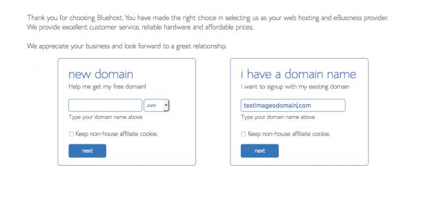blue host domain screen